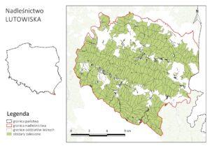Nadleśnictwo Lutowiska - mapa wykonana przy pomocy funkcji Atlas w QGIS