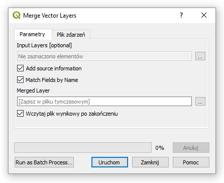 SAGA GIS Łączenie warstw wektorowych / Merge vector layers