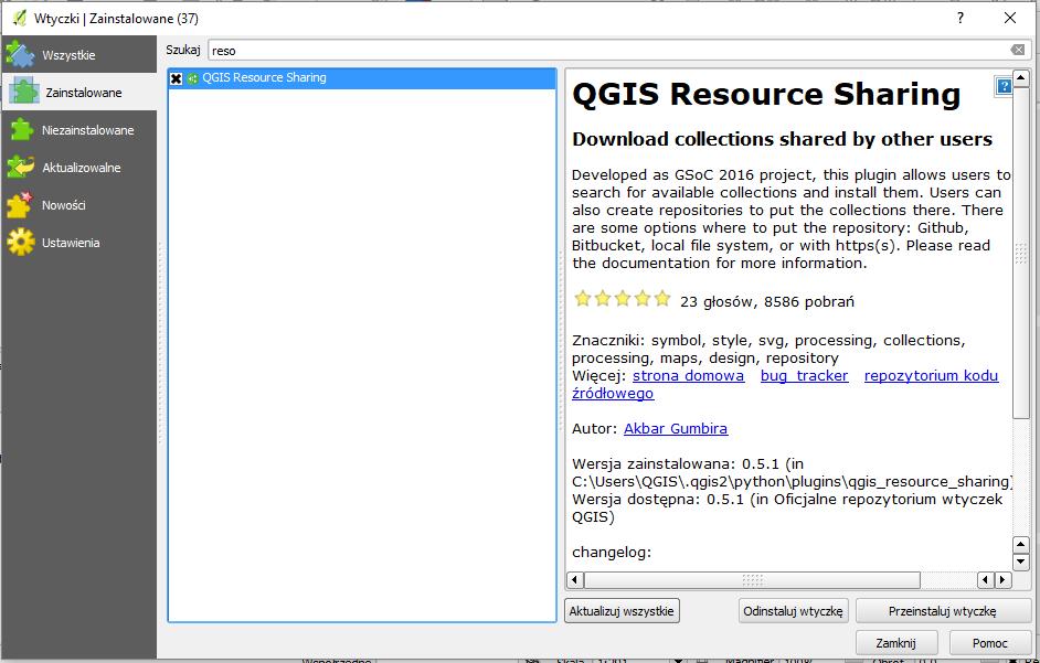 QGIS Resource Sharing plugin