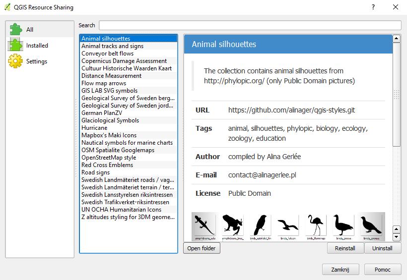 zestaw symboli QGIS - sylwetki zwierząt z Phylopic - animal silhouettes