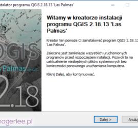 Instalacja QGIS - ekran powitalny