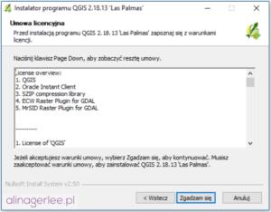 QGIS - jak zainstalować program - licencja