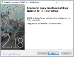 QGIS - jak zainstalować program - zakończenie instalacji