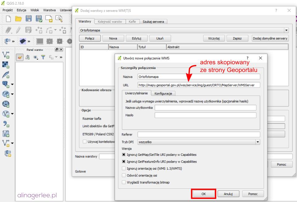 QGIS - dodawanie adresu WMS