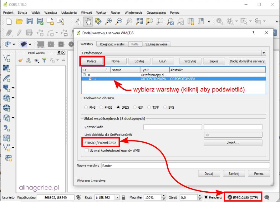 QGIS - połączenie z serwerem WMS