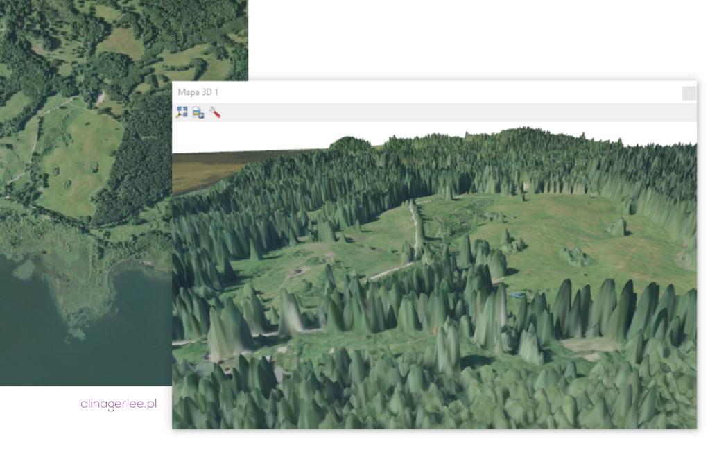 QGIS 3.0 - widok mapy 3D