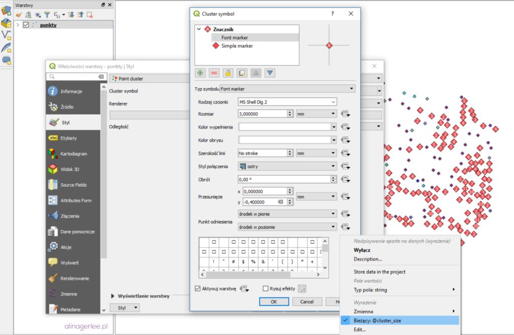 QGIS 3.0 - style: grupowanie punktów w klastry (cluster symbol)