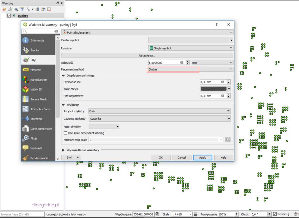 QGIS 3.0 - style: grupowanie punktów w siatkę (grid)