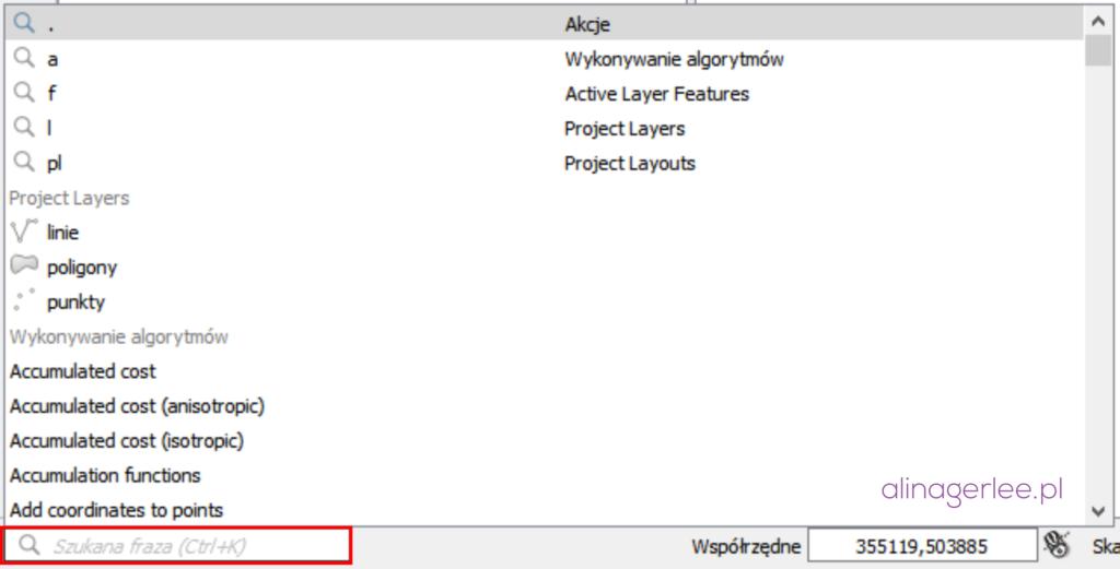 QGIS 3.0 - wyszukiwarka Lokator Bar
