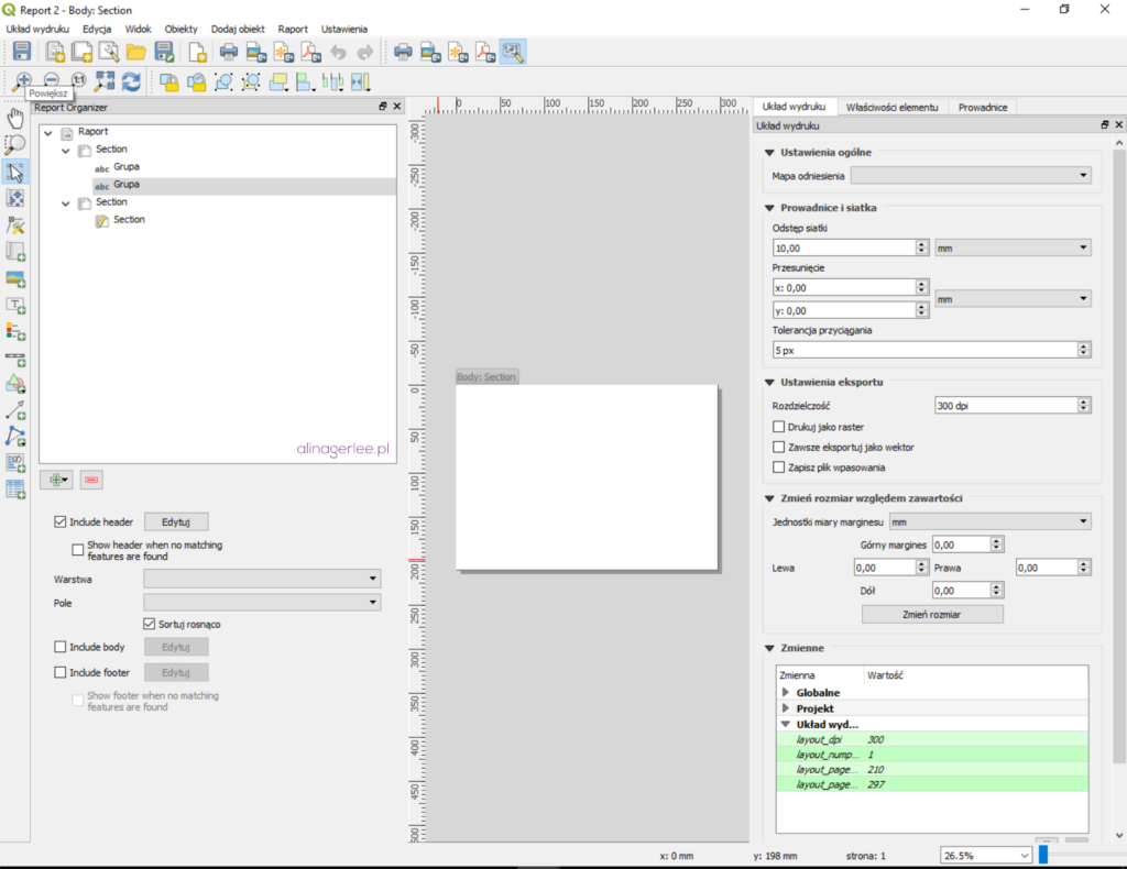QGIS 3.0 - widok okna raportu