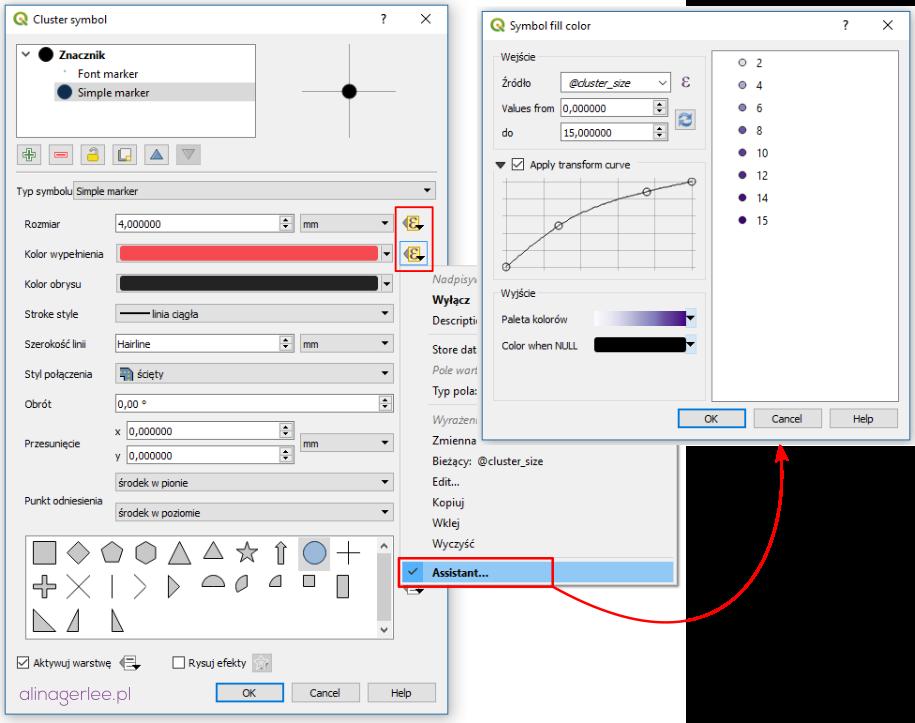 QGIS styl dla punktów - styl oparty na danych kolor i wielkość klastra