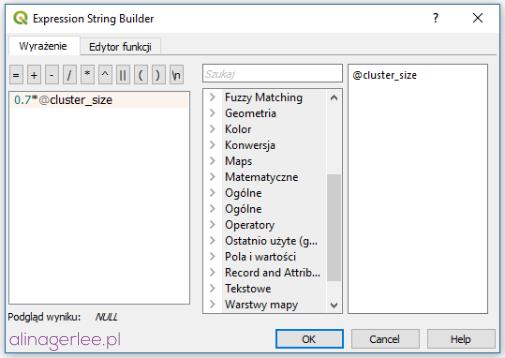 QGIS styl dla punktów - zmienna cluster_size