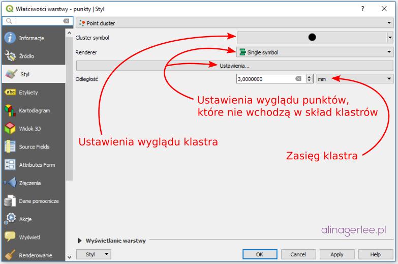 QGIS styl dla punktów - klasteryzacja - główne ustawienia