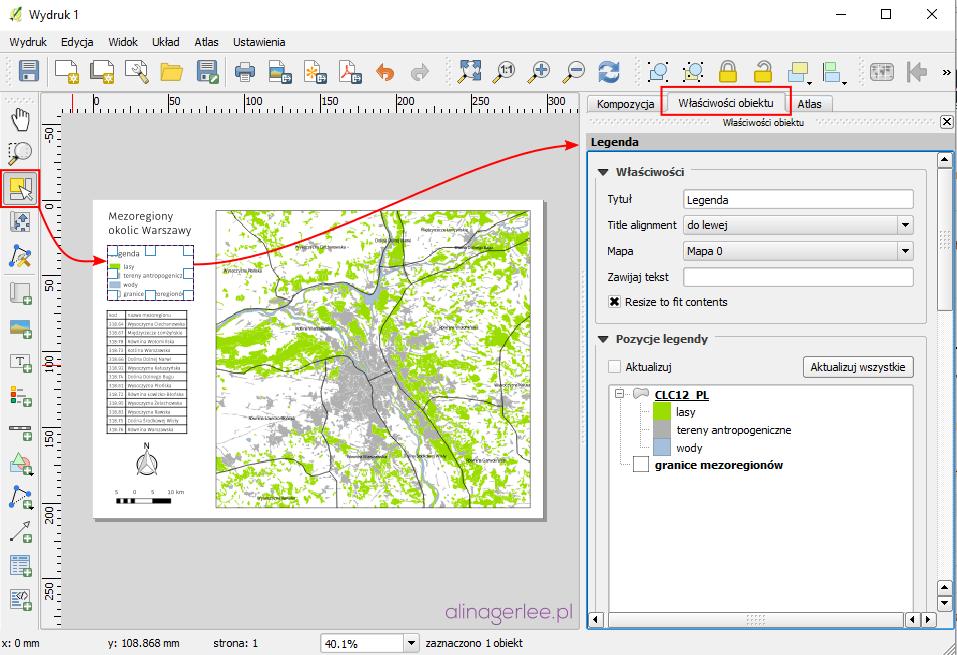 QGIS - jak wydrukować mapę - właściwości obiektu
