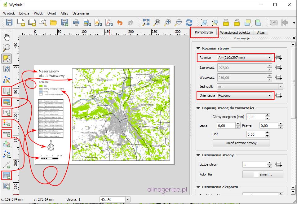 QGIS - jak wydrukować mapę - Kreator wydruków
