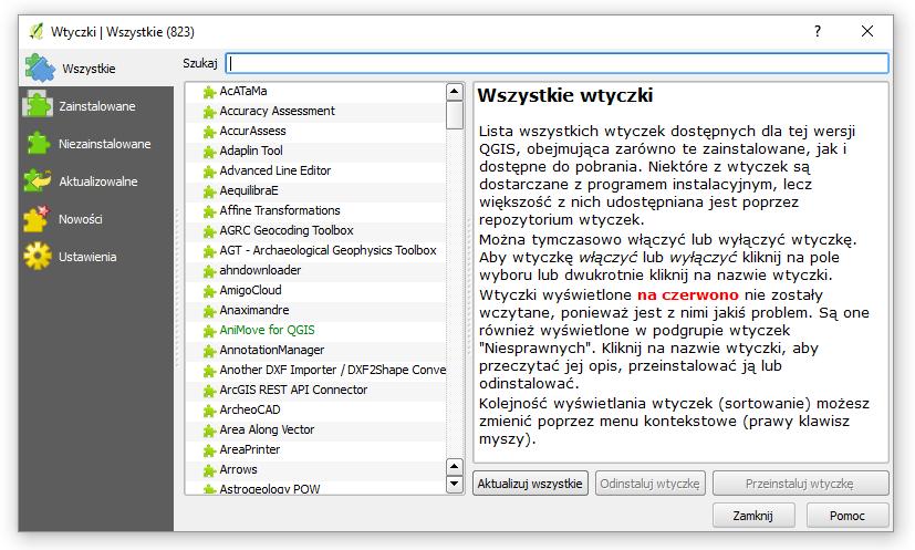 Lista wtyczek w QGIS 2.18