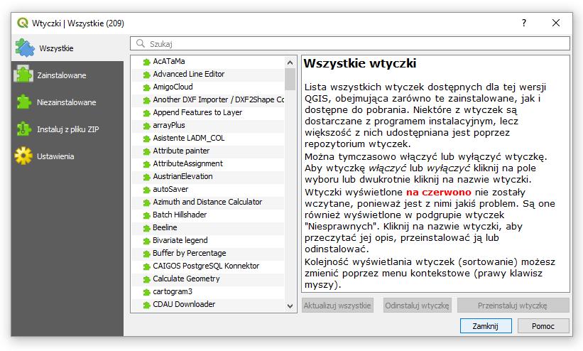 Lista wtyczek w QGIS 3.2
