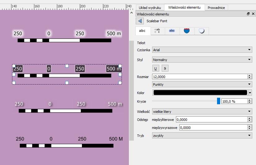 Podziałka - zaawansowana edycja opisu na wydruku w QGIS 3.2