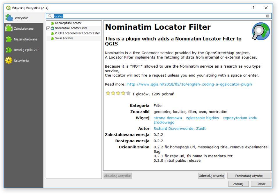 Lokator w QGIS - wtyczkaNominatim Locator Filter poszerzająca możliwości